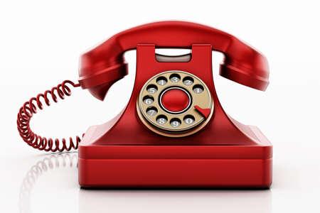 Antique rotary phone isolated on white background. 3D illustration. 版權商用圖片