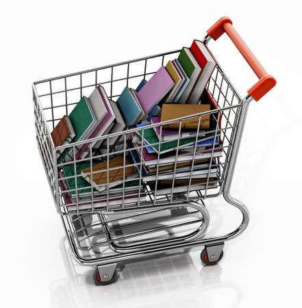 Shopping cart full of books isolated on white background. 3D illustration. 版權商用圖片
