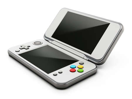 Vintage handheld game console isolated on white background. 3D illustration.