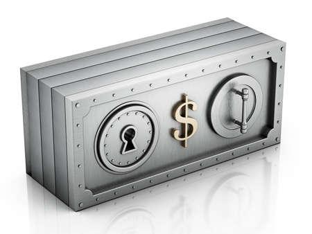 Dollar bill shaped money safe isolated on white background. 3D illustration.