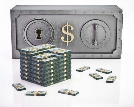 Dollar bill shaped money safe and bankrolls isolated on white background. 3D illustration.