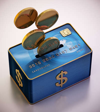 Moneybox with credit card and gold coins. 3D illustration.