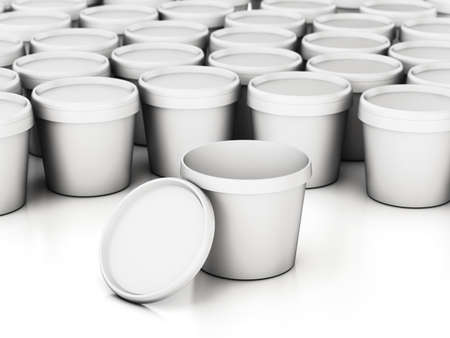White paint cans with one can with open lid isolated on white background. 3D illustration.