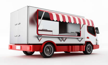 Generic fast food truck isolated on white background. 3D illustration. 版權商用圖片