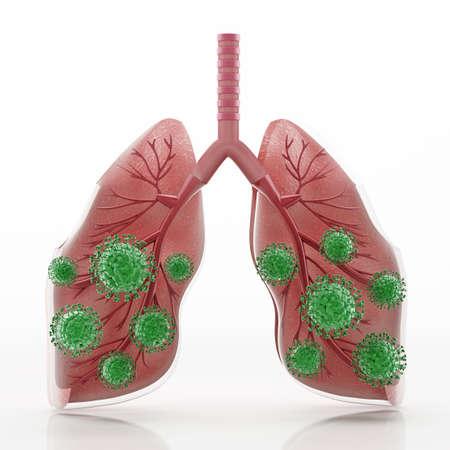 Green viruses around human lungs. 3D illustration.