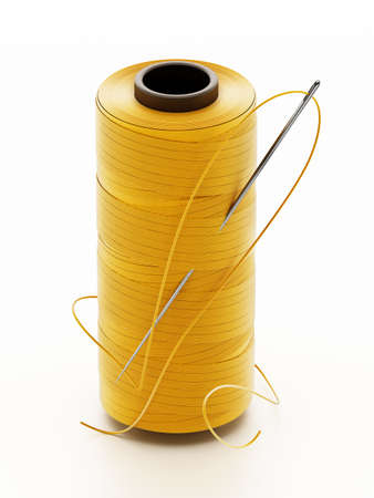 Nylon sewing thread and needle isolated on white background. 3D illustration.