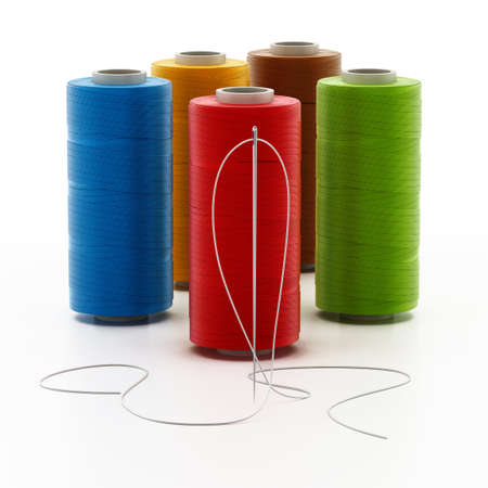 Nylon sewing threads and needle isolated on white background. 3D illustration.