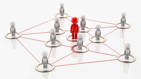 3D simplistic characters linked to each other with a red figure at the center. Business network concept. 3D illustration.