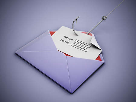 Fish hook stealing user name and password text areas on paper inside an enveloppe. 3D illustration. 版權商用圖片