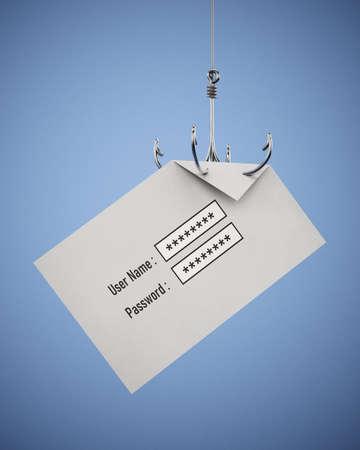 Fish hook stealing user name and password written paper. 3D illustration. 版權商用圖片
