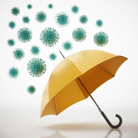 Viruses on the umbrella. 3D illustration.