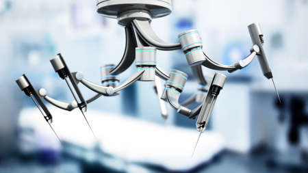 Robotic arms for robotic assisted surgery. 3D illustration.
