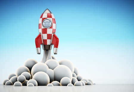 Vintage rocket ship launching to space. 3D illustration.