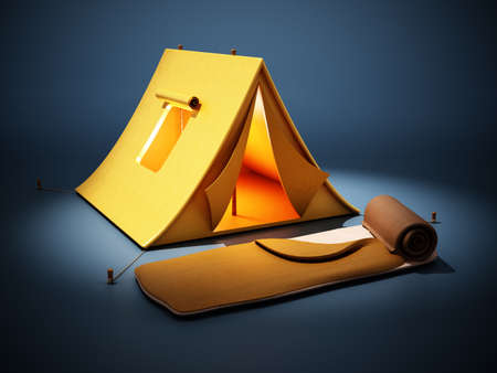 Camping tent and sleeping bag standing on dark blue background. 3D illustration.