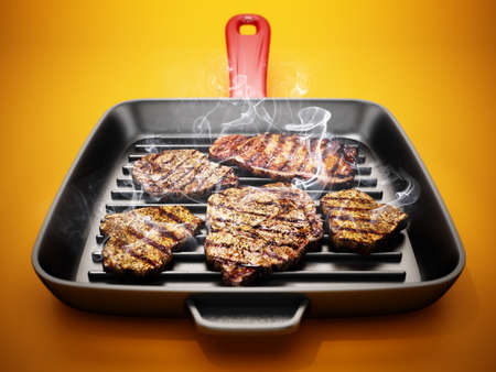 Grilled steaks in hot frying pan. 3D illustration. 版權商用圖片
