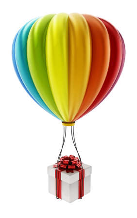 Colorful hot air balloon carying white giftbox wrapped with red ribbon. 3D illustration.