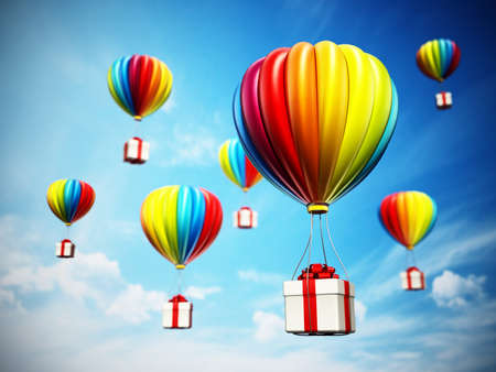 Colorful hot air balloons carying white giftbox wrapped with red ribbon. 3D illustration.