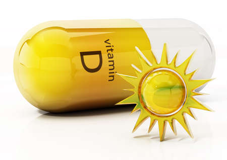 Vitamin D pill with a sun symbol on the right side. 3D illustration.