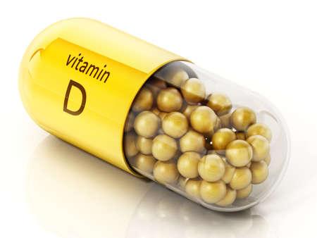 Vitamin D pill with yellow spheres with sun symbol. 3D illustration. 版權商用圖片