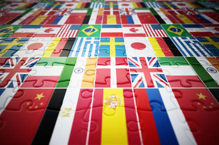 Country flags on jigsaw puzzle pieces. 3D illustration. 版權商用圖片