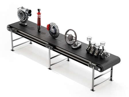 Conveyor belt carrying various car parts. 3D illustration. 版權商用圖片