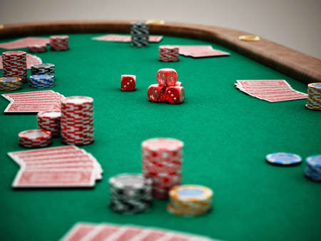 Poker table with playing cards, casino chips and dices. 3D illustration.