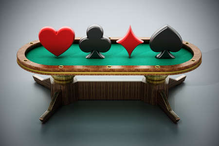 Poker table with playing card symbols. 3D illustration.