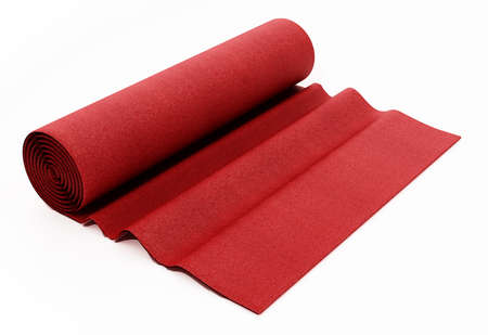 Rolled up red carpet isolated on white background. 3D illustration. 版權商用圖片