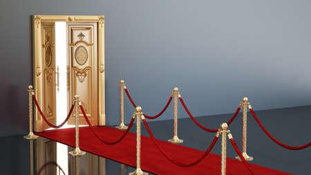 Red carpet and velvet ropes leading to the half open golden door. 3D illustration. 版權商用圖片