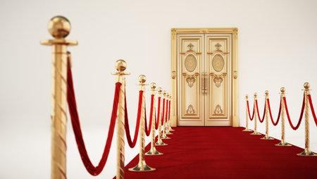 Red carpet and velvet ropes leading to the golden door. 3D illustration.