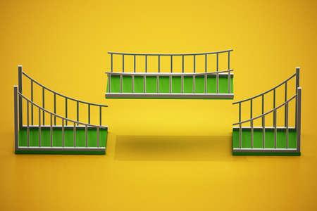 Green bridge parts fitting each other. Building bridges concept. 3D illustration.