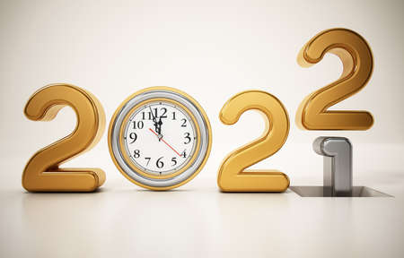 Year 2021 changes to 2022. New year 2022 concept. 3D illustration. 版權商用圖片