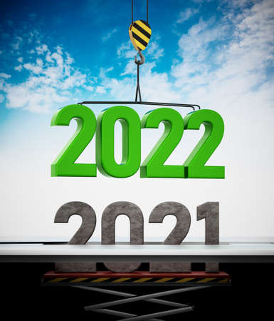 2022 number carried by crane replaces 2021. 3D illustration.