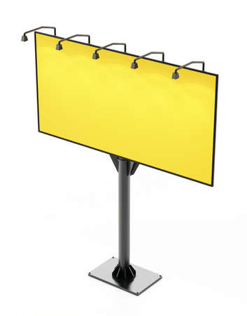 Yellow street billboard isolated on white background. 3D illustration.