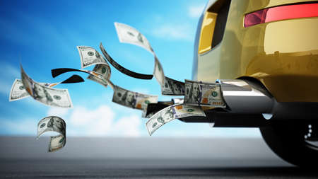100 dollar bills flowing from the exhaust pipe of a car. 3D illustration.