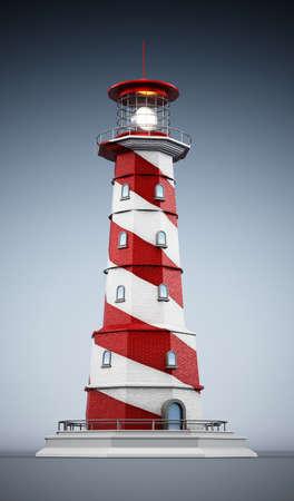 Generic lighthouse on gradient background. 3D illustration.