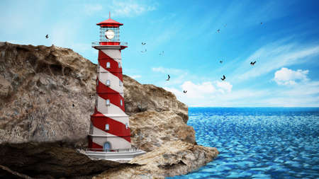 Generic lighthouse on a cliff near the sea. 3D illustration.