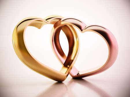 Two attached heart shaped rings. 3D illustration.