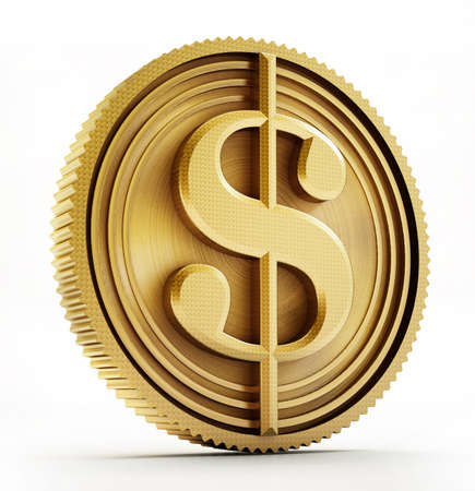 Gold coin with dollar sign isolated on white background. 3D illustration.
