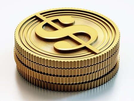 Gold coins with dollar sign isolated on white background. 3D illustration. 版權商用圖片