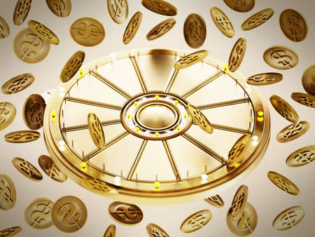 Prize wheel and gold coins with dollar icon on blue background. 3D illustration. 版權商用圖片