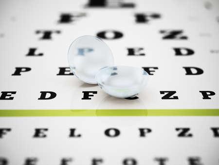 Set of optical lenses standing on eye test chart. 3D illustration.