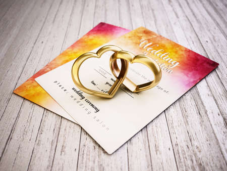 Two attached heart shaped rings standing on old wooden planks next to the wedding invitation. 3D illustration. 版權商用圖片