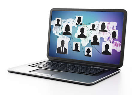 People silhouettes inside connected box shapes in laptop screen with world map. 3D illustration.