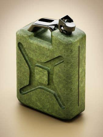 Vintage green gas canister. 3D illustration. Stockfoto