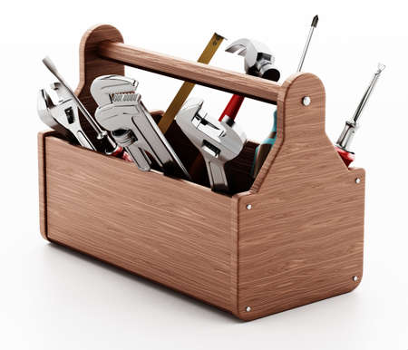 Wooden toolbox with various hand tools isolated on white background. 3D illustration. Stockfoto