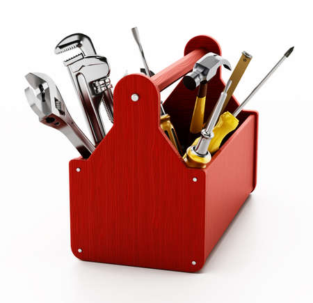Red wooden toolbox with various hand tools isolated on white background. 3D illustration.