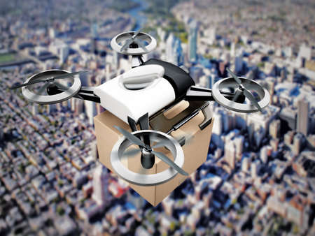 Unmanned drone carrying cargo box above the big city view.
