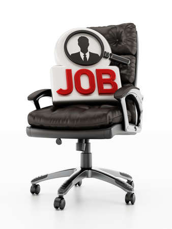 Black leather office chair with job text and businessman symbol. 3D illustration.