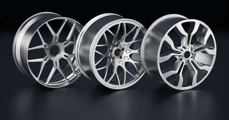Steel rims on black background. 3D illustration. Stockfoto